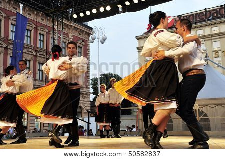 ZAGREB,CROATIA - JULY 19: Members of folk groups Domizan in Czech folk costume during the 47th International Folklore Festival in center of Zagreb,Croatia on July 19,2013