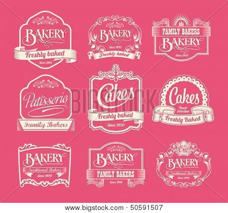 Vintage bakery labels, ribbons and decorative banners