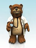 A cartoon bear dressed as a doctor and holding a stethoscope in his hand. poster