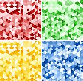 Set of Abstract Red, Green, Yellow and Blue Triangle Backgrounds, Vector Illustration poster