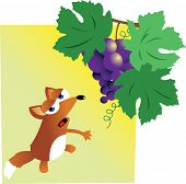 Funny Fox gives up on trying to take some grapes poster