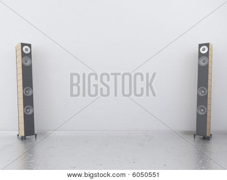 White Wall With Sound Speakers