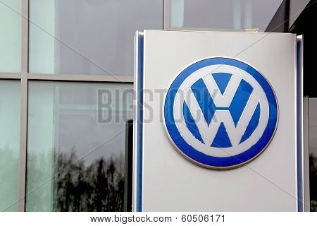 Sign Volkswagen In Front Of A Building