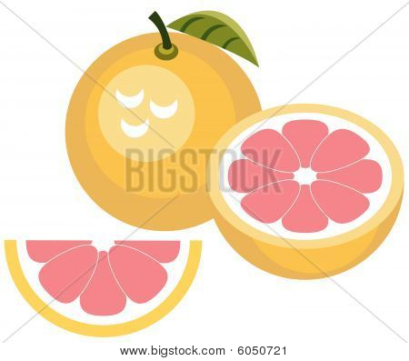 Grapefruit with half and slice