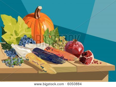 Fruits and vegetables on wooden table for Thanksgiving