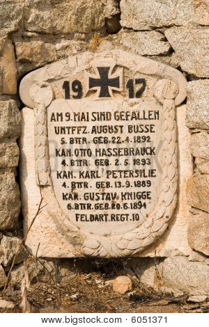 Gravestone at the destroyed German Military cemetary in Prilep