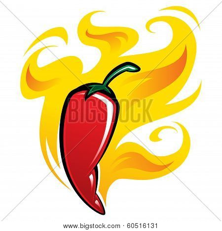 Extremely Hot Red Chili Pepper On Fire
