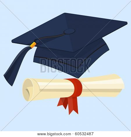 Flat diploma and graduation cap