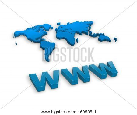Www sign and a world map