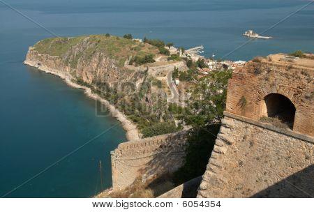 Palamidi castle and Nafplion city view Greece
