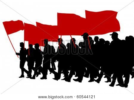 People with large flags on street