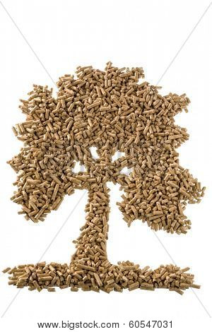 symbol photo tree of pellets for heating and heat from alternative, renewable energy sources.