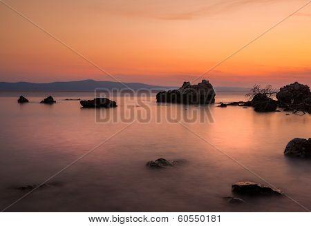 Adriatic sea coast at sunset