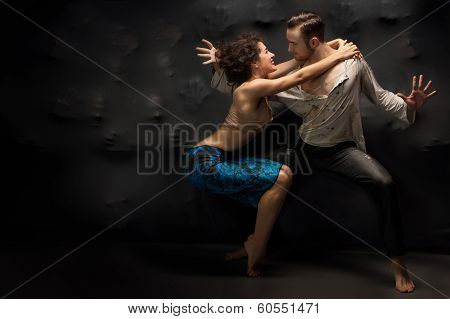 Couple Dancing Contemporary Over Background Of Souls