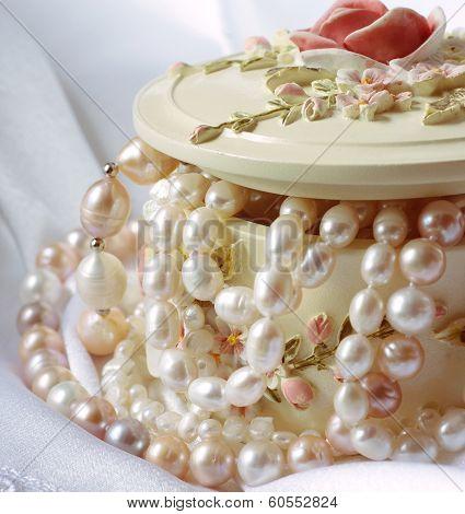Beautiful jewelry pearls in a small box