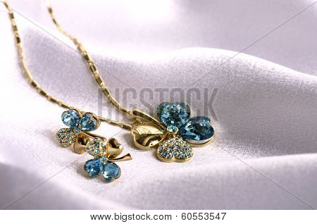 Beautiful women's jewelry jewelry on the background poster