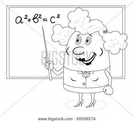 Teacher woman with blackboard, contour