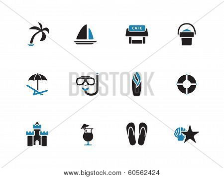 Beach duotone icons on white background.