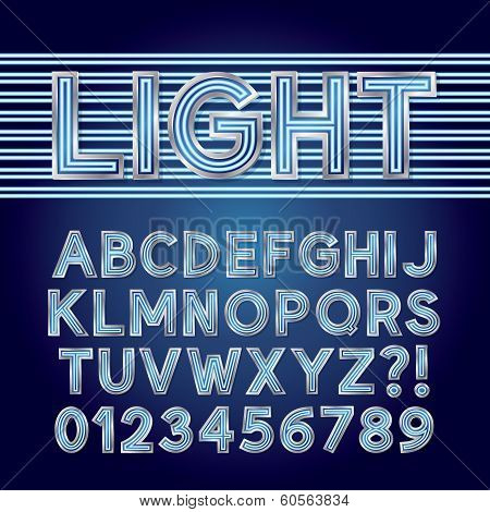 Blue Parallel Neon Light Alphabet