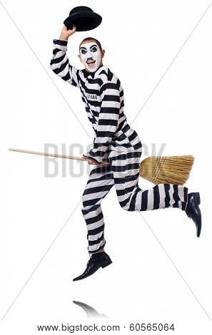 Prisoner with broom isolated on the white poster