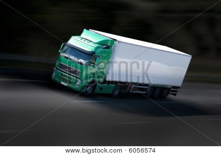 Green And White Semi Truck