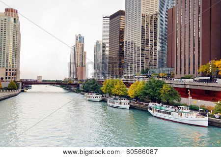 CHICAGO, IL - OCT 6, 2011: Chicago downtown on October 6, 2011 in Chicago, Illinois. Chicago is the third most populous city in the United States, after New York City and Los Angeles