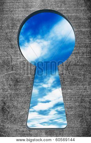 Blue Sky Seen Through The Keyhole
