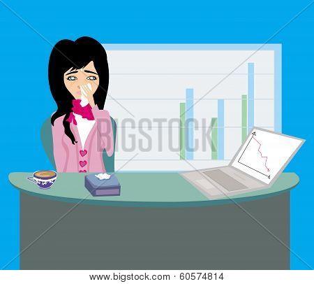 Sick Secretary Working