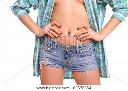 Belly Sexual Young Woman In A Man's Shirt