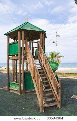 Wooden kids game structure playground urban park