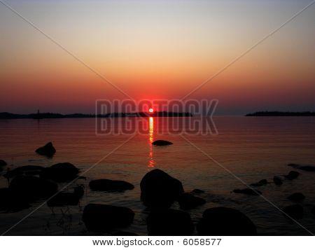 Sunset over Lake Superior at Todd Harbor, Isle Royale National Park, Michigan