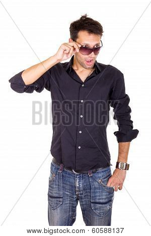 Surprised Handsome Man Looking Under Sunglasses Making Eye Contact