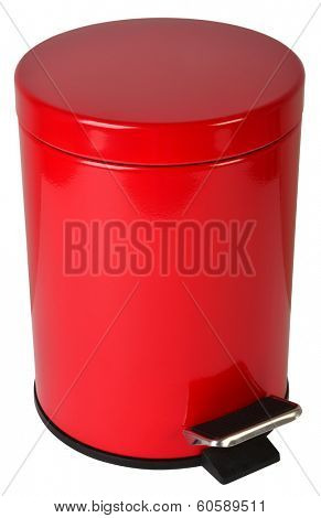 Trash can, isolated against white background.