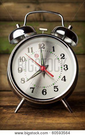 Silver Retro Alarm Clock Close Up