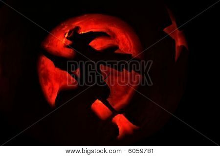 Witch Silhouette Made From Pumpkin