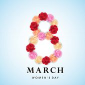 Happy Women's Day celebrations concept with beautiful colorful flowers decorated 8th March on blue background. poster