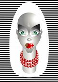 Abstract color  Label  beautiful  face with  make-up. Vector illustration poster