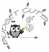 Monochrome budget cuts dollar twig text isolated on white background poster