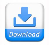 download button for music, video movie or data downloading pdf document file or ebook icon poster