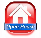 Open house sign banner or placard for renting or buying a new home visit a real estate property model house poster