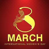 Happy Women's Day celebrations greeting card design with stylish golden text 8 March on red background. poster