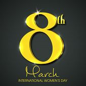 International Happy Women's Day celebration concept with stylish golden text 8th March on grey background. poster