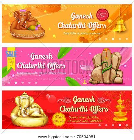 illustration of banner for Ganesh Chaturthi sale promotion