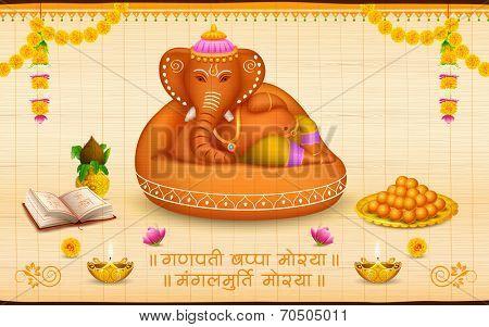 illustration of statue of Lord Ganesha made of clay Ganesh Chaturthi with text Ganpati Bappa Morya (Oh Ganpati My Lord)
