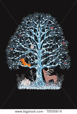 Big blue tree with a flock of bullfinches, a squirrel and an owl on it as well as a reindeer and rabbits near it on the black background