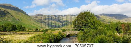 Lake panorama beautiful Lake District river Mickleden Beck Langdale Valley by Old Dungeon Ghyll