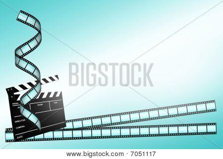 Clap Board Ant Film Strip On Blue Background