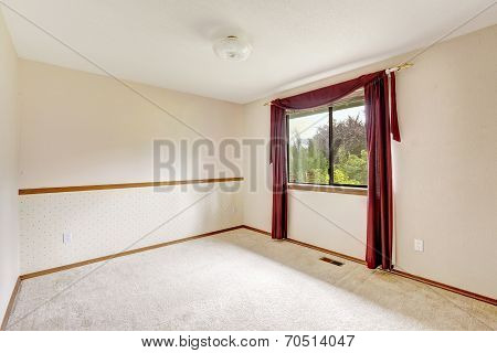 Brigh White Empty Room With Burgundy Curtains