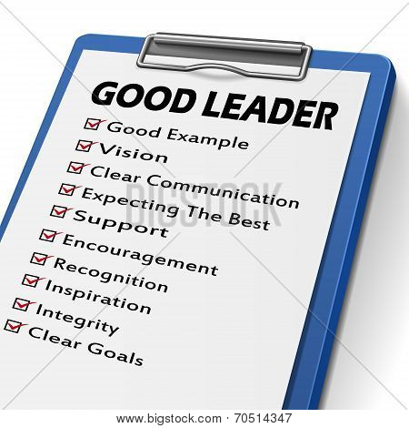 good leader clipboard with check boxes marked for leadership concepts poster