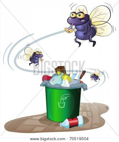 Illustration of a garbage bin and flies
